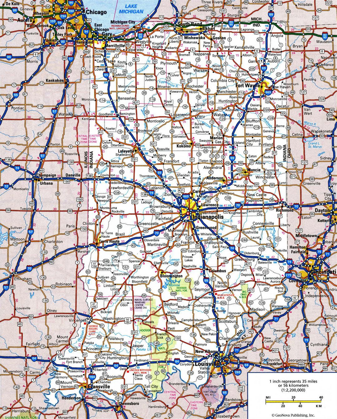 Large detailed roads and highways map of Indiana state with all cities and national parks