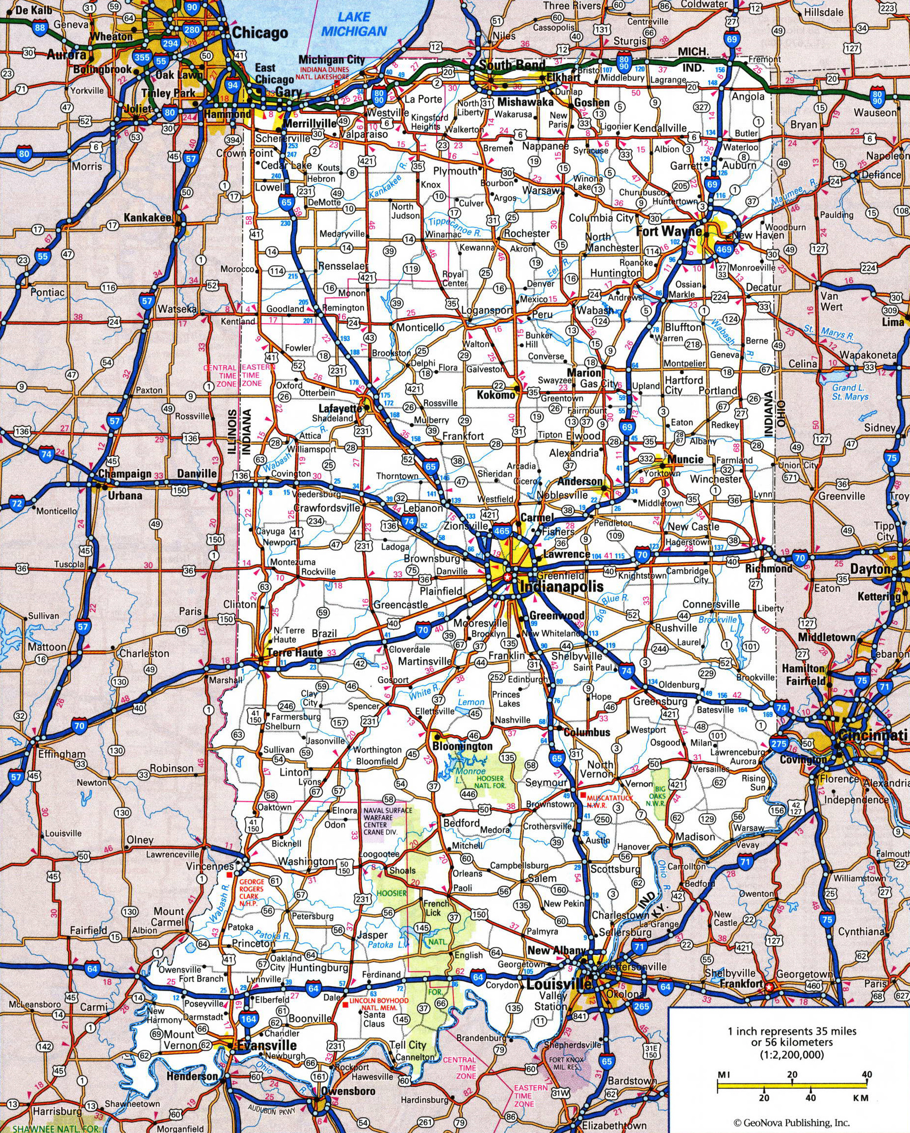Large detailed roads and highways map of Indiana state with all ...