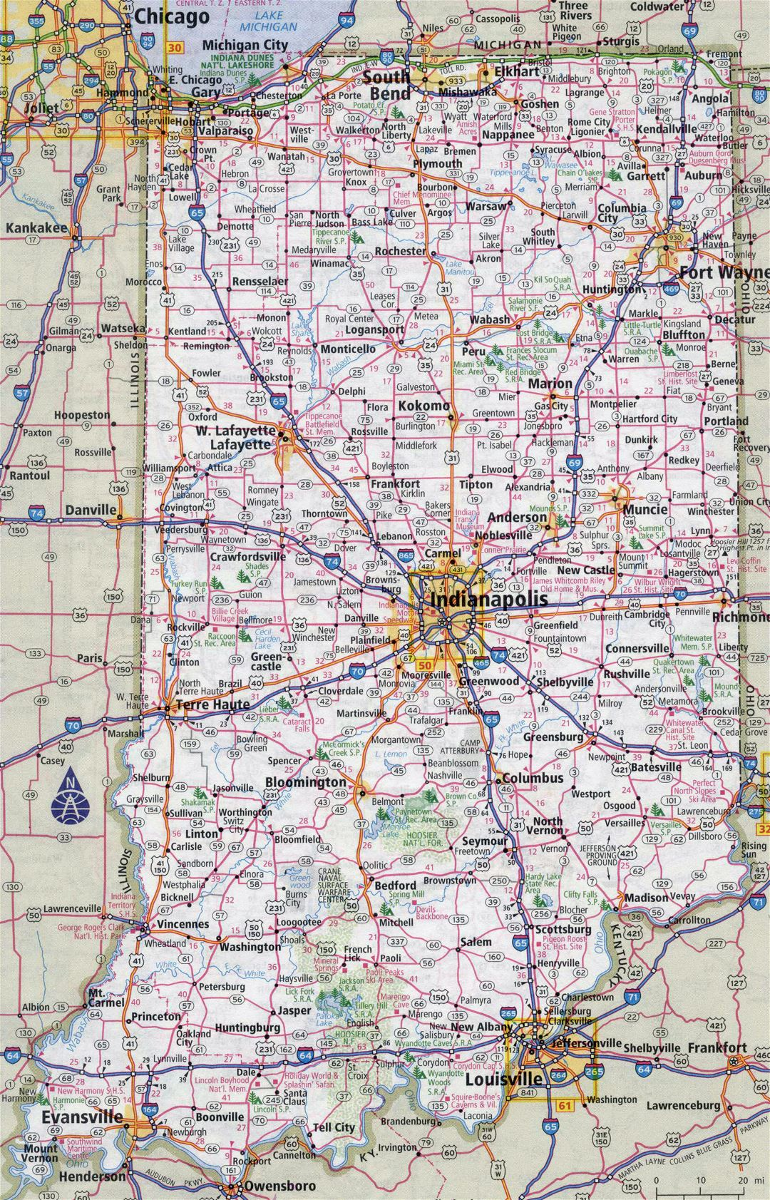 Large detailed roads and highways map of Indiana state with all cities