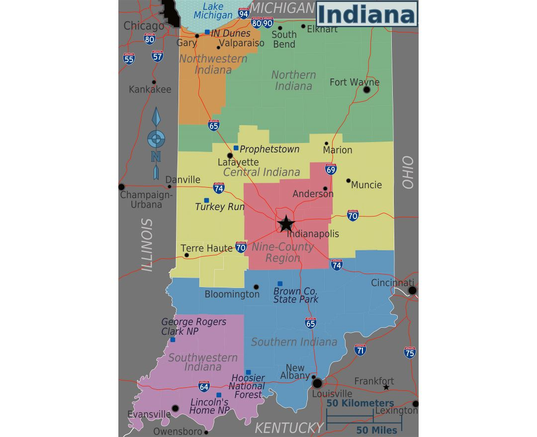 Maps Of Indiana State Collection Of Detailed Maps Of Indiana - Indiana on a map of the usa