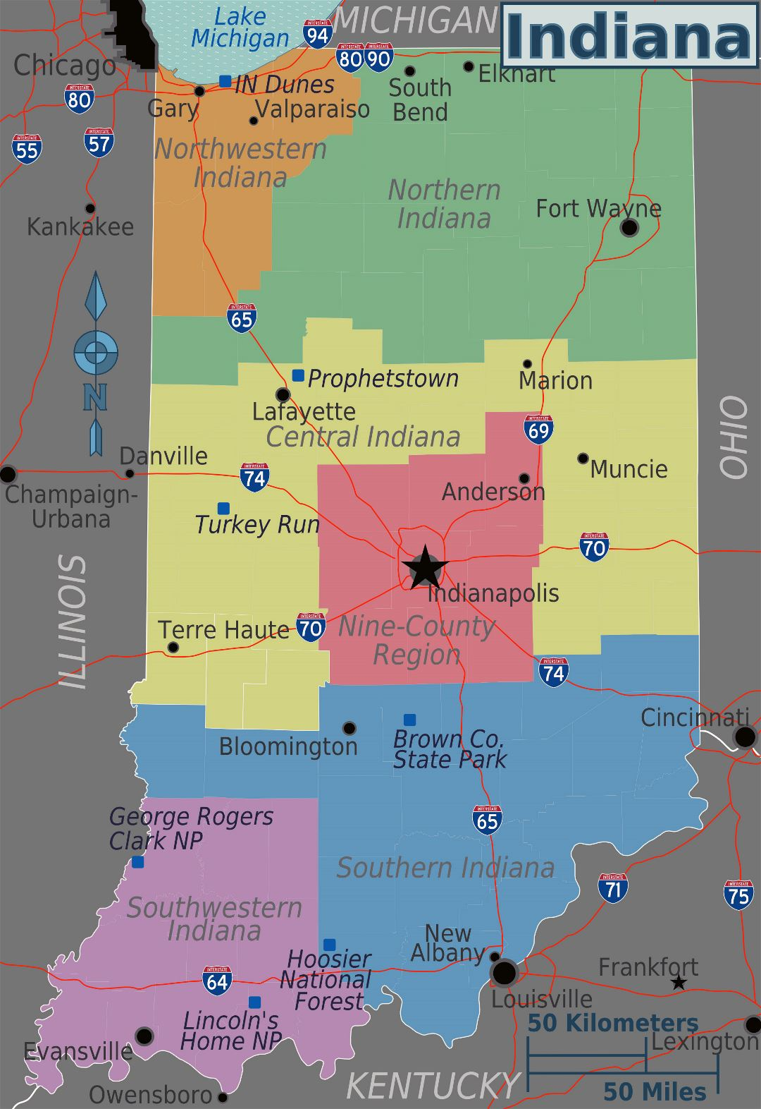 Large regions map of Indiana state
