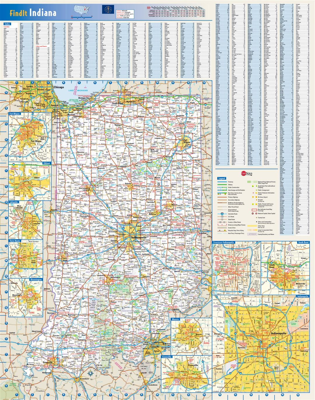 Large roads and highways map of Indiana state with national parks, all cities, towns and villages