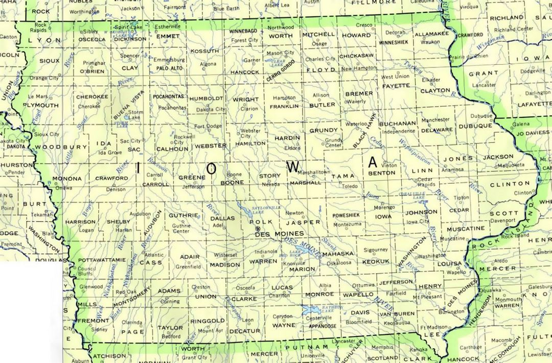 Administrative map of Iowa state