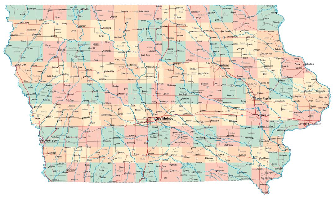 Large administrative map of Iowa state with roads, highways and cities