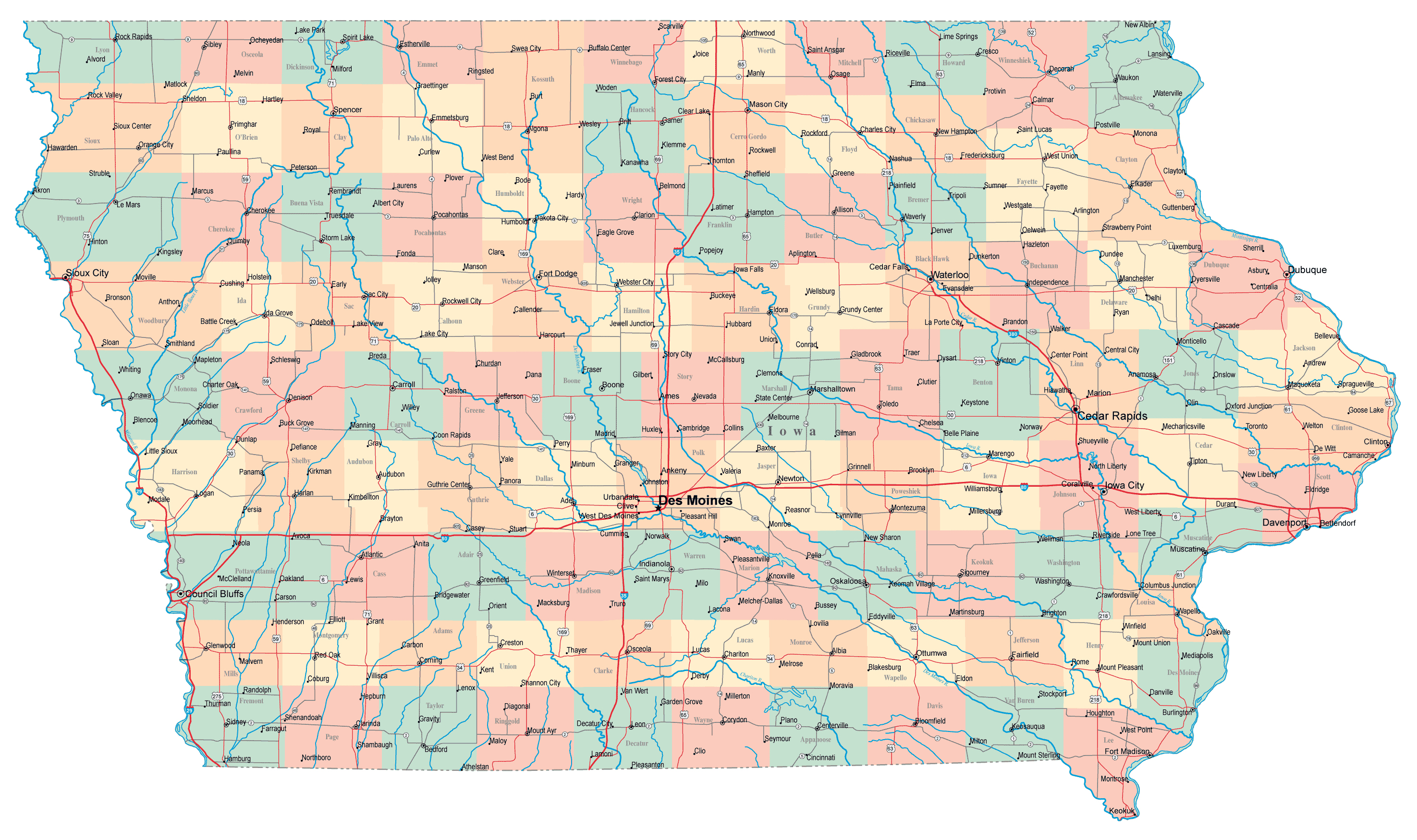 Large administrative map of Iowa state with roads highways and