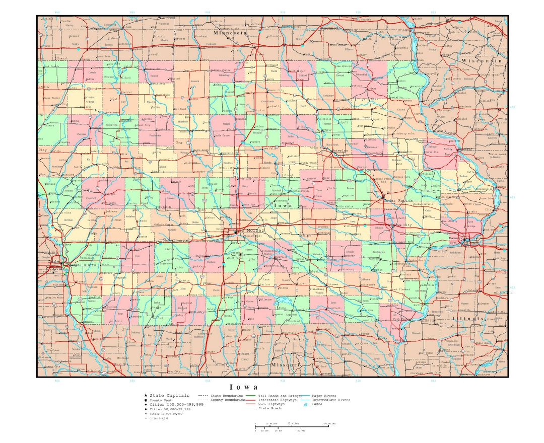 Road Map Iowa Afputracom - Iowa state map with cities