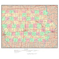 Large map of Iowa state with roads, highways, relief and major ... on