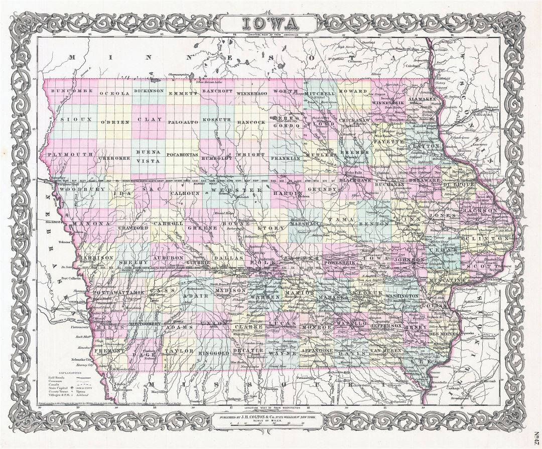 Large detailed old administrative map of Iowa state - 1855