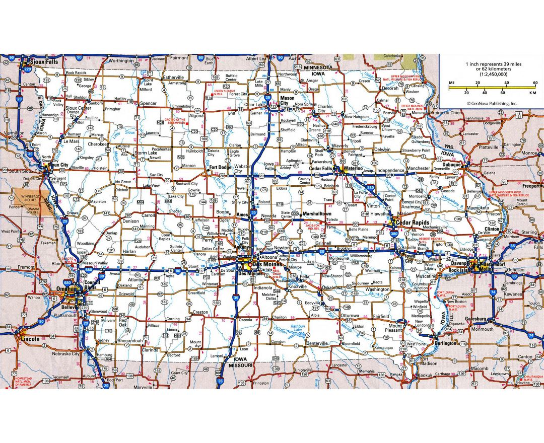 Maps Of Iowa State Collection Of Detailed Maps Of Iowa State - Highway map of usa with states and cities