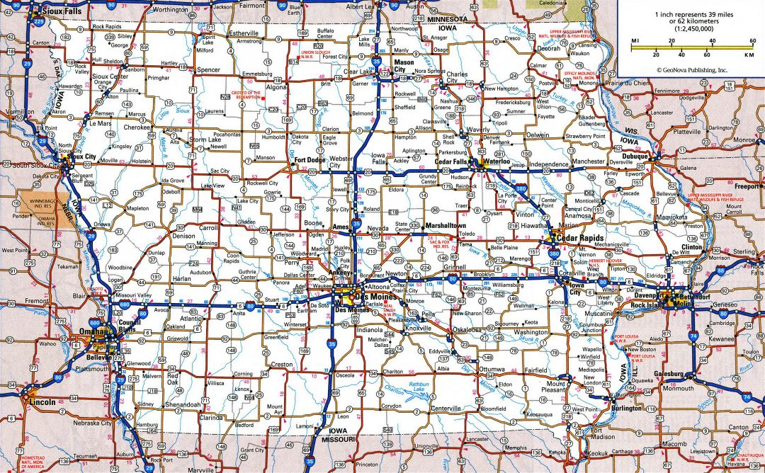 Large detailed roads and highways map of Iowa state with all cities and national parks