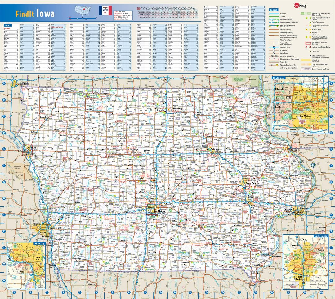Large detailed roads and highways map of Iowa state with national parks, all cities, towns and villages