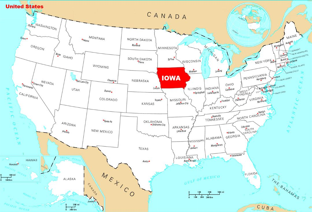 Large location map of Iowa state