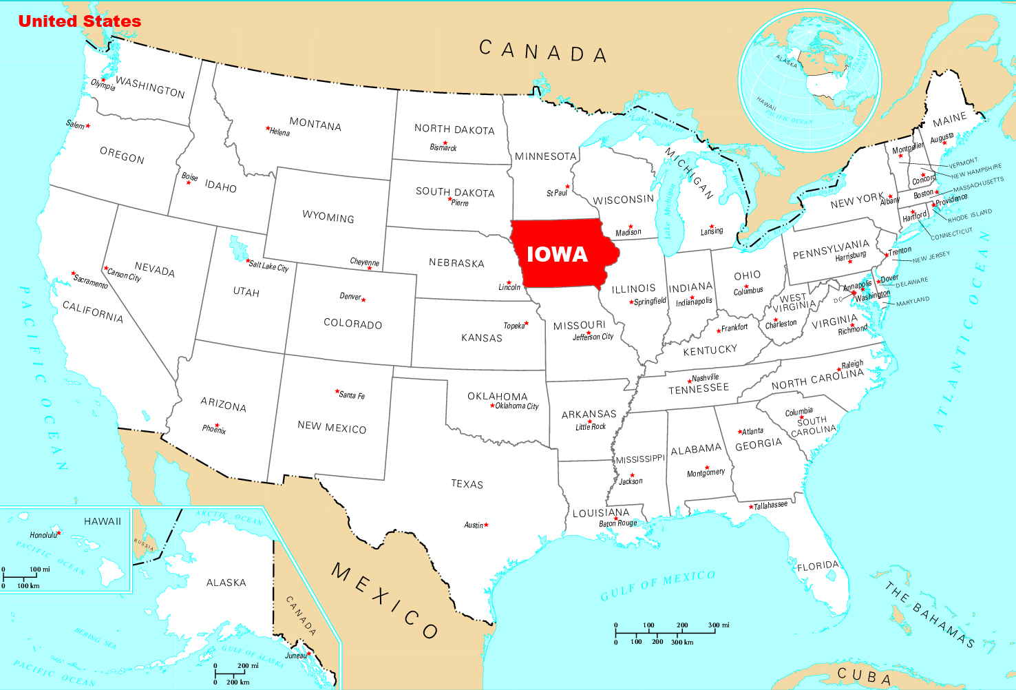 Large location map of Iowa state Iowa state USA Maps of the