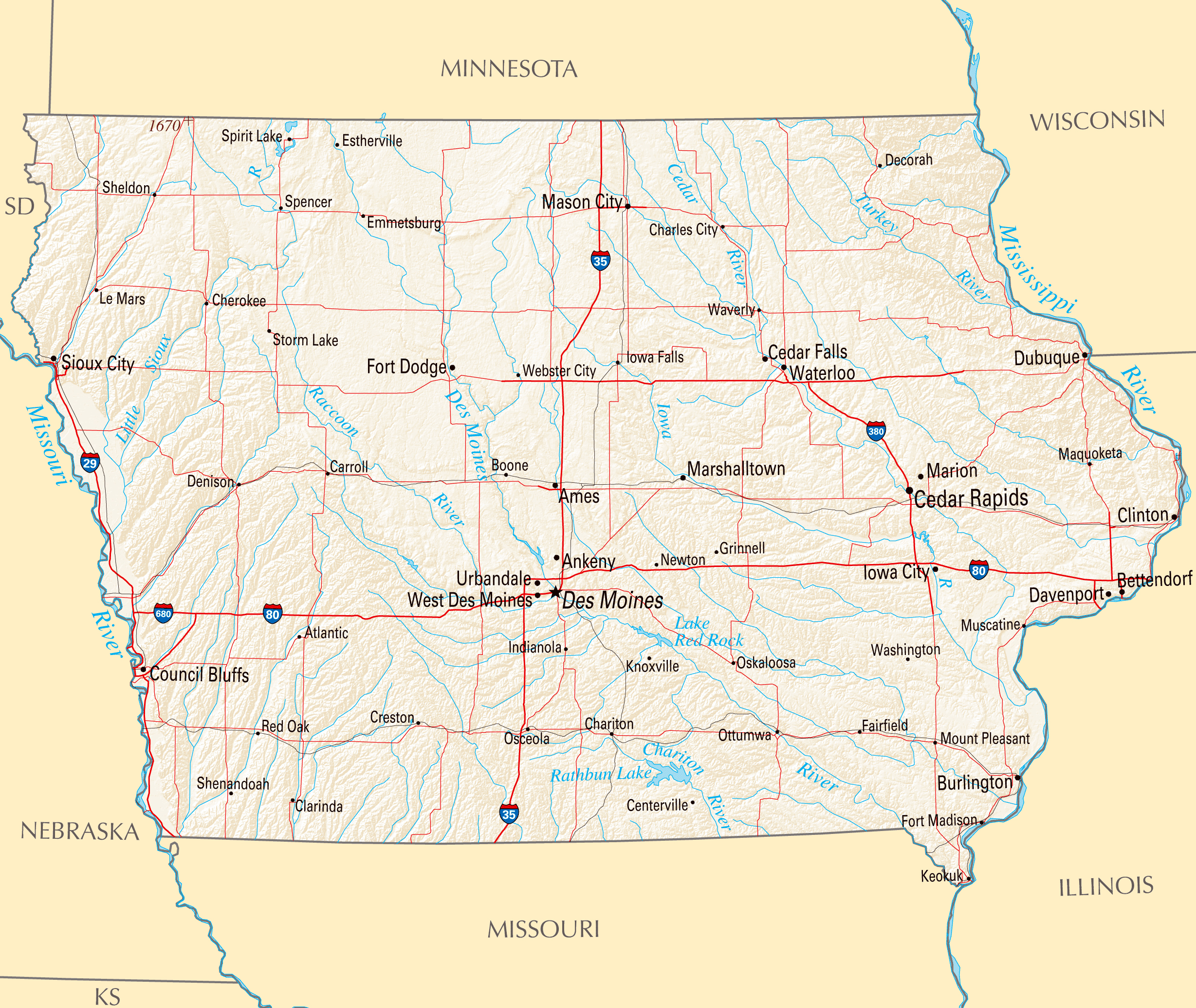 Large map of Iowa state with roads, highways, relief and major ...