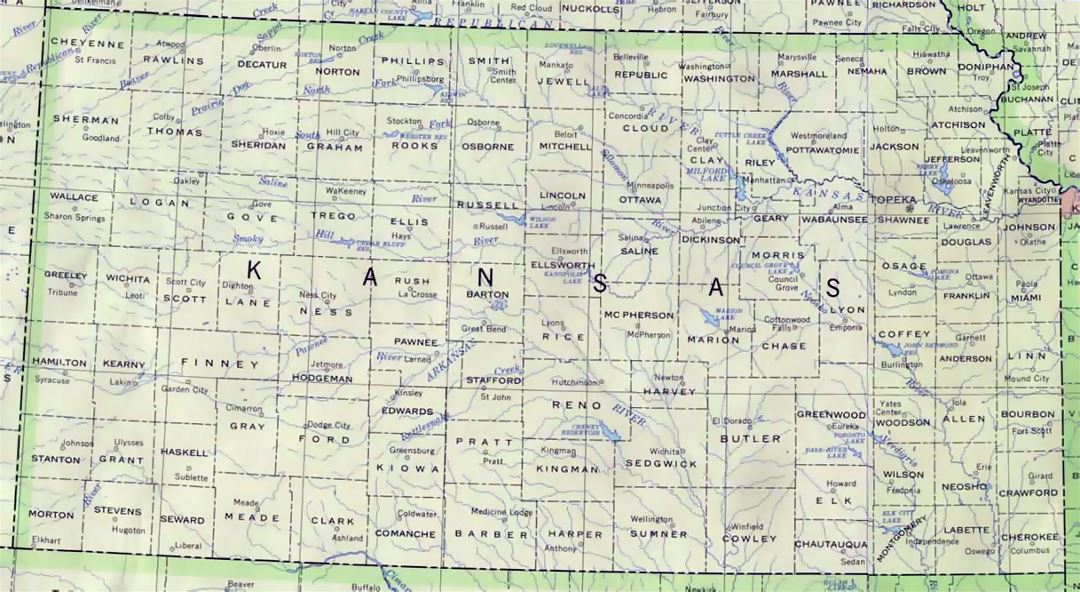 Administrative map of Kansas state