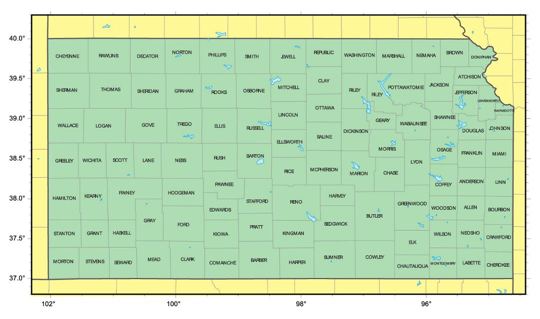 Detailed administrative map of Kansas state