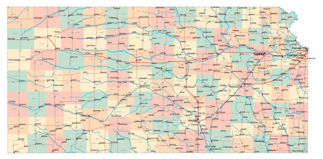 Large administrative map of Kansas state with roads, highways and cities