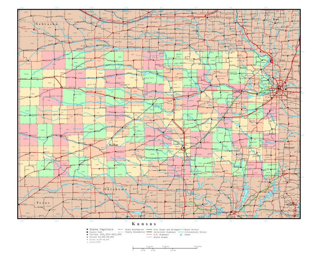Maps Of Kansas State Collection Of Detailed Maps Of Kansas State - Map of usa with states and capitals and major cities