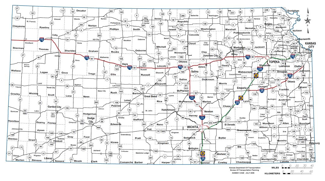 Large detailed highways and roads map of Kansas state