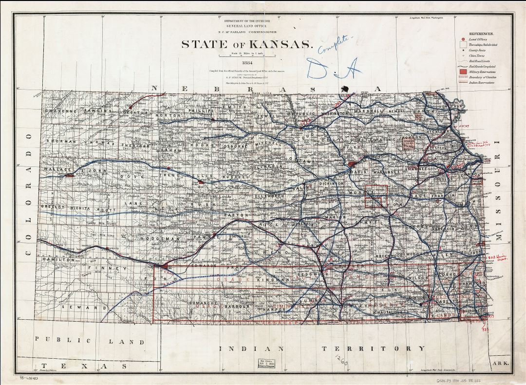 Large detailed old map of Kansas state with railroads