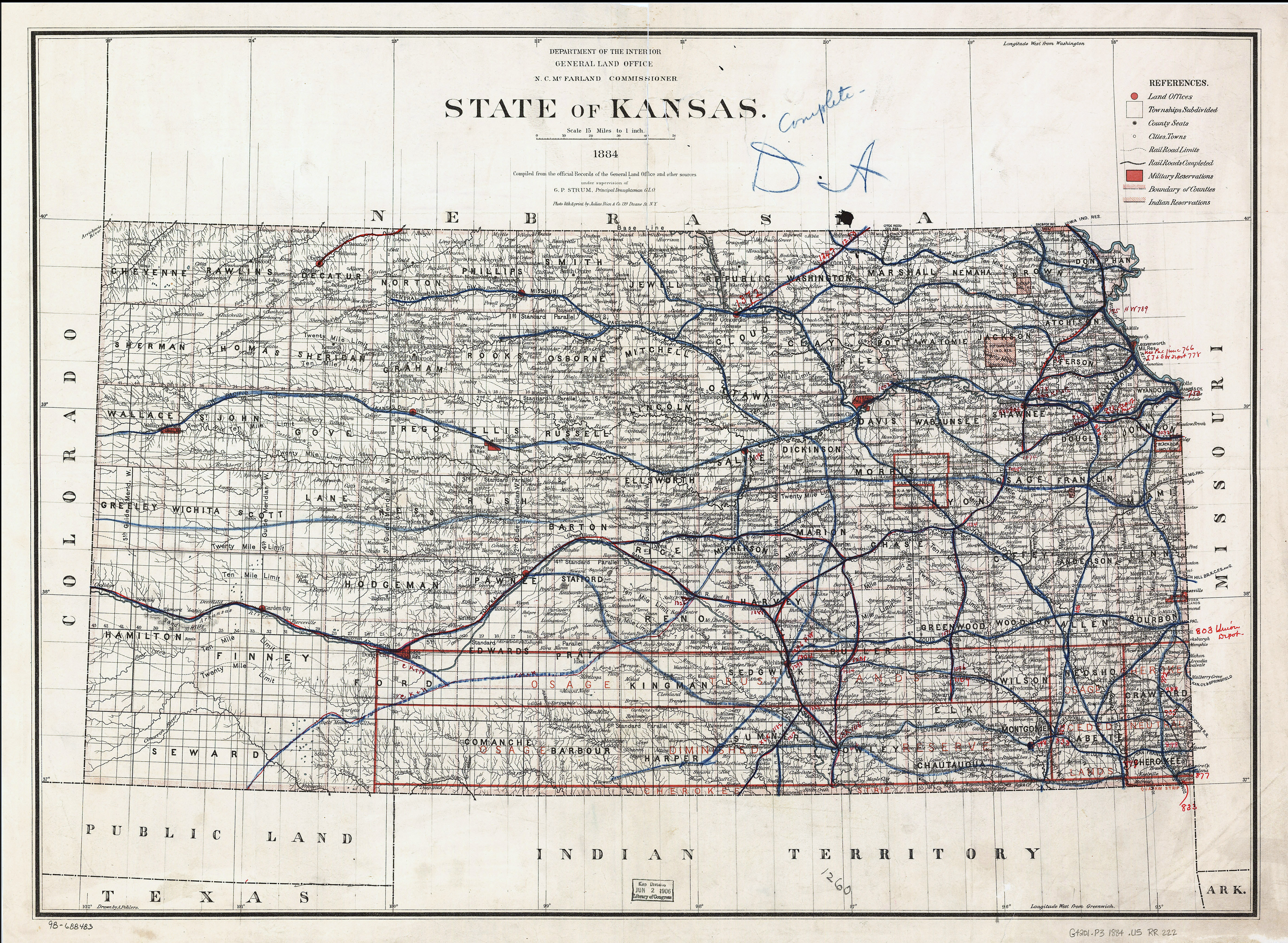Large Detailed Old Map Of Kansas State With Railroads Kansas - Map of kansas state