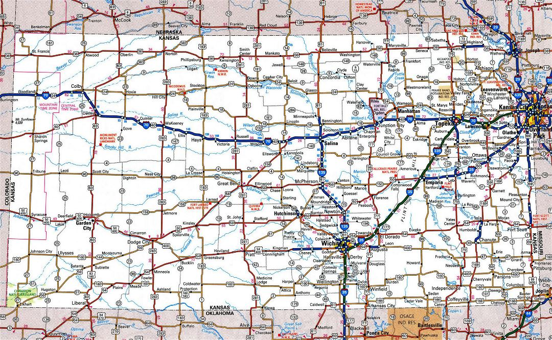Large detailed roads and highways map of Kansas state with all cities and national parks