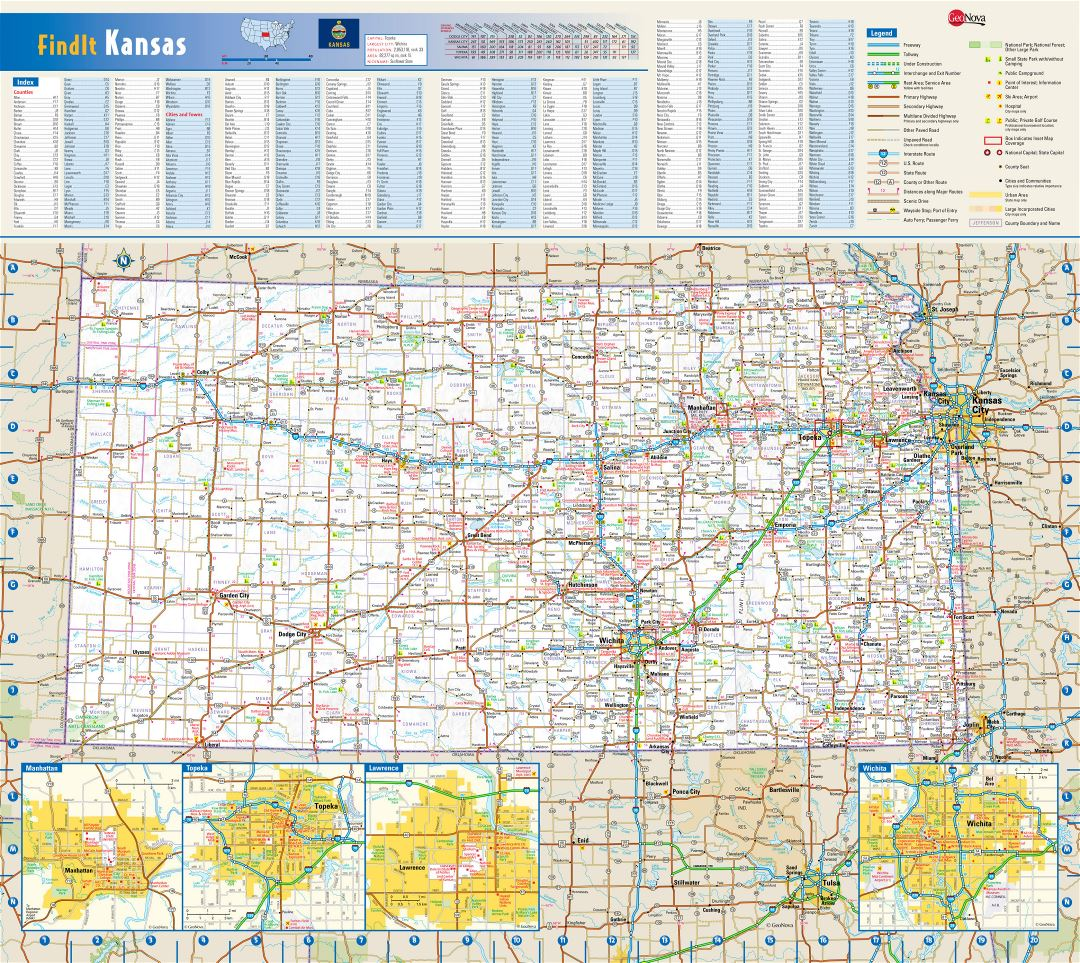Large detailed roads and highways map of Kansas state with national parks, all cities, towns and villages