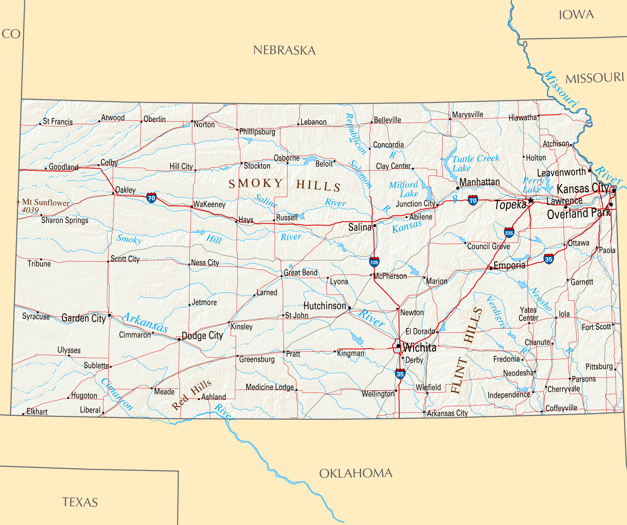Large map of Kansas state with roads, highways, relief and major ...