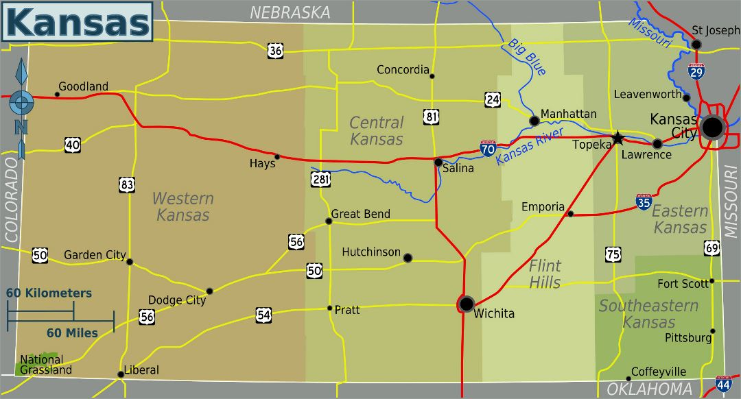 Large regions map of Kansas state