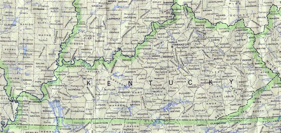 Administrative map of Kentucky state
