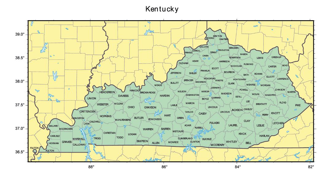 Detailed administrative map of Kentucky state
