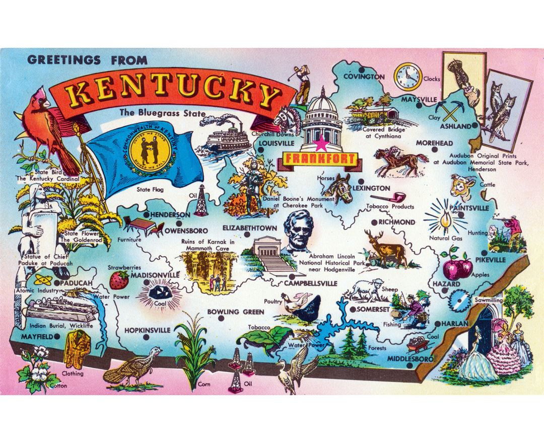 Detailed tourist illustrated map of Kentucky state