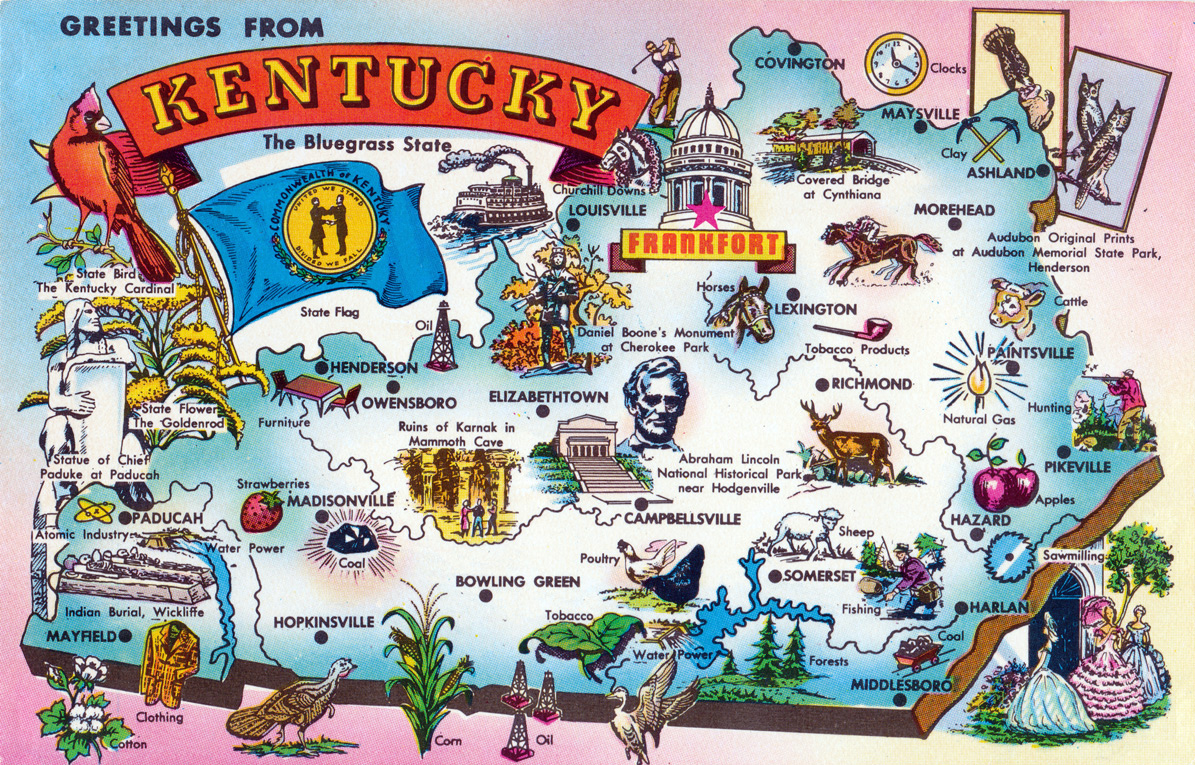 Detailed tourist illustrated map of Kentucky state Kentucky state