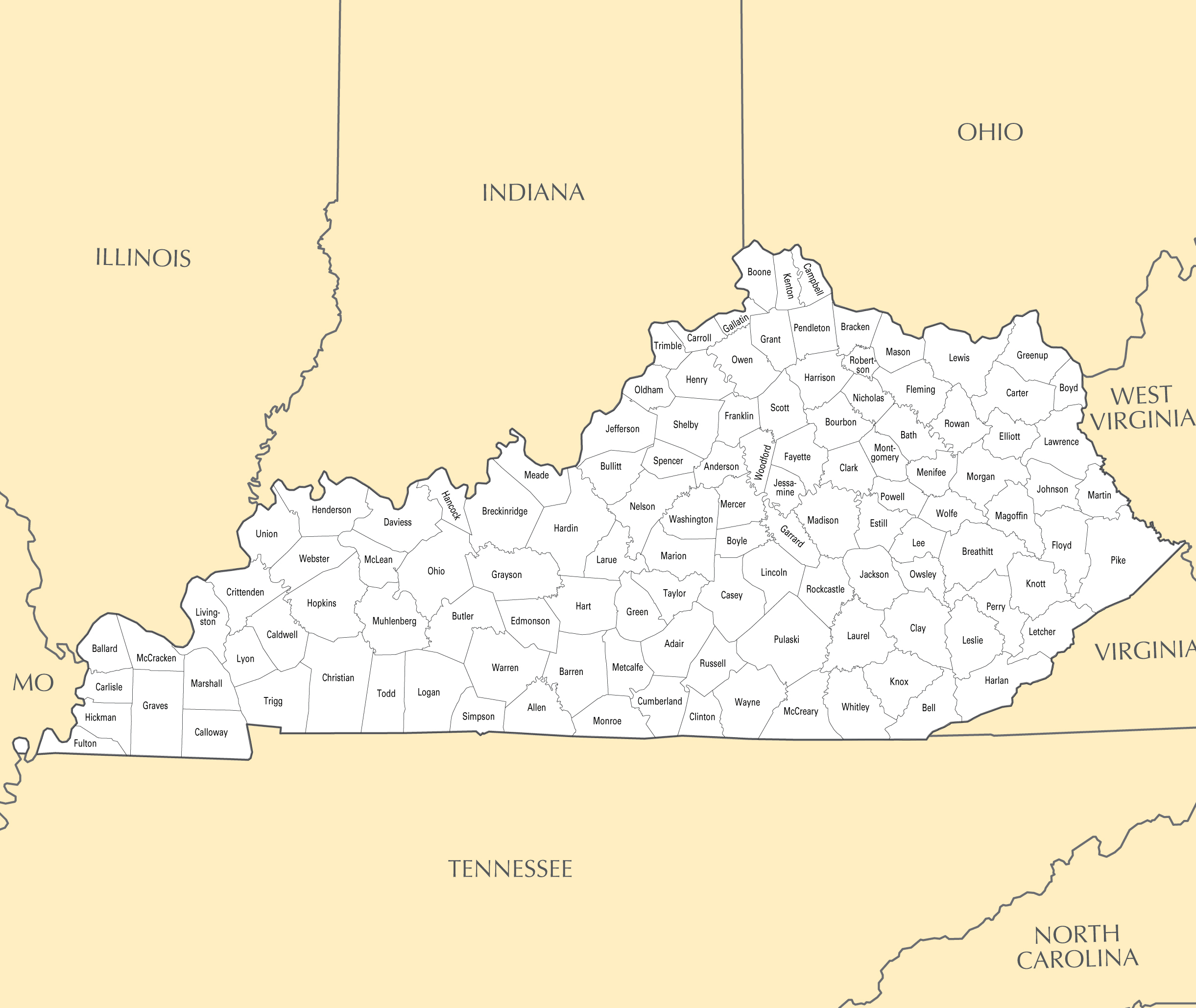 Large administrative map of Kentucky state with major cities