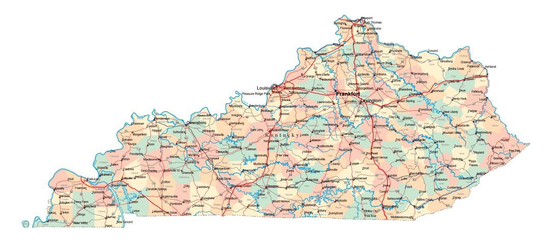 Large administrative map of Kentucky state with roads, highways and cities
