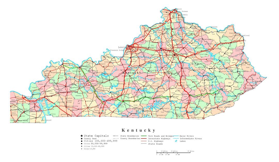 Large detailed administrative map of Kentucky state with roads, highways and cities