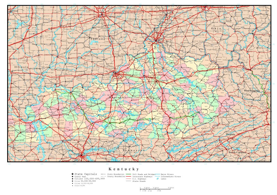 Large detailed administrative map of Kentucky state with roads, highways and major cities