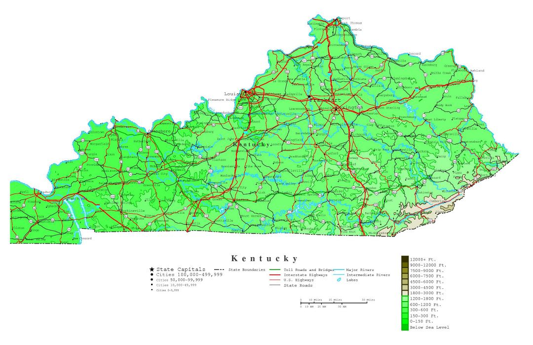 Large detailed elevation map of Kentucky state with roads, highways and cities