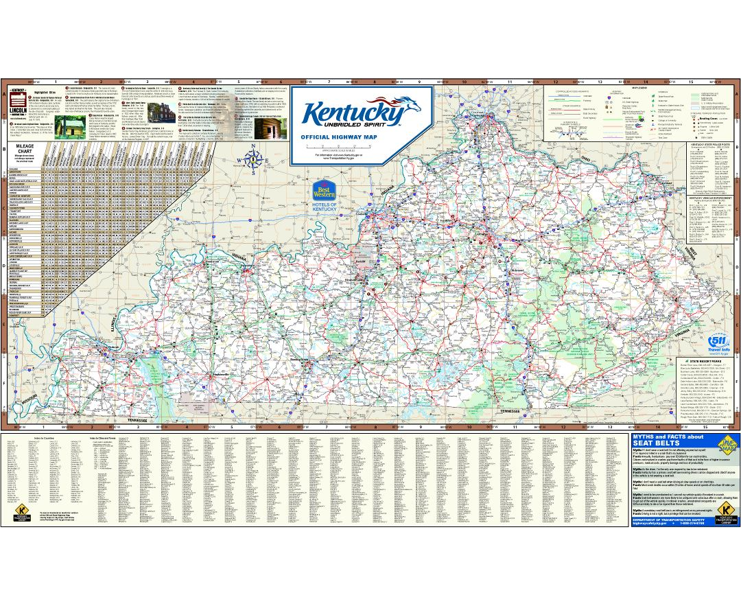 Large detailed highways map of Kentucky state with all cities and national parks