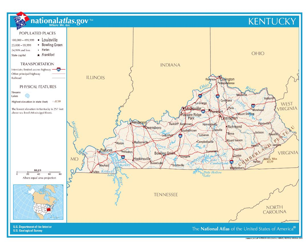 Large detailed map of Kentucky state
