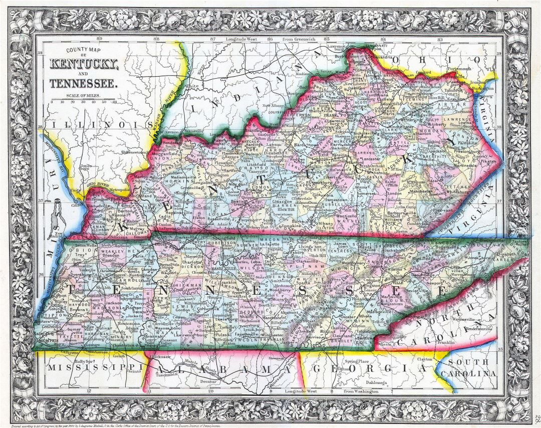 Large detailed old administrative map of Kentucky and Tennessee - 1862