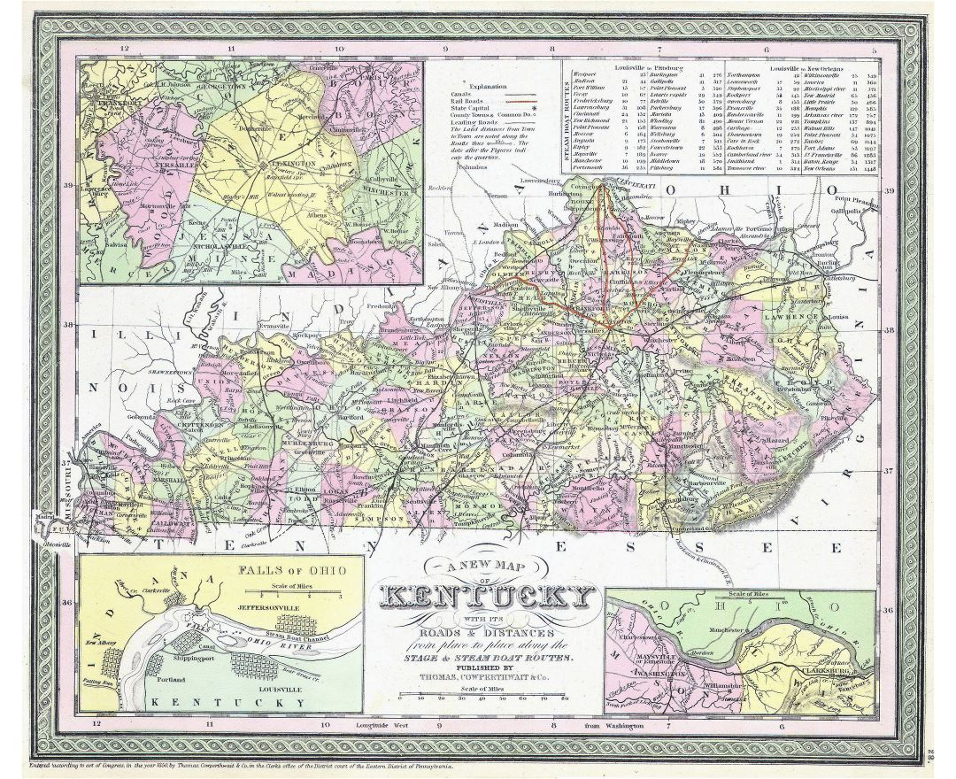Large detailed old administrative map of Kentucky state with railroads and other marks - 1850