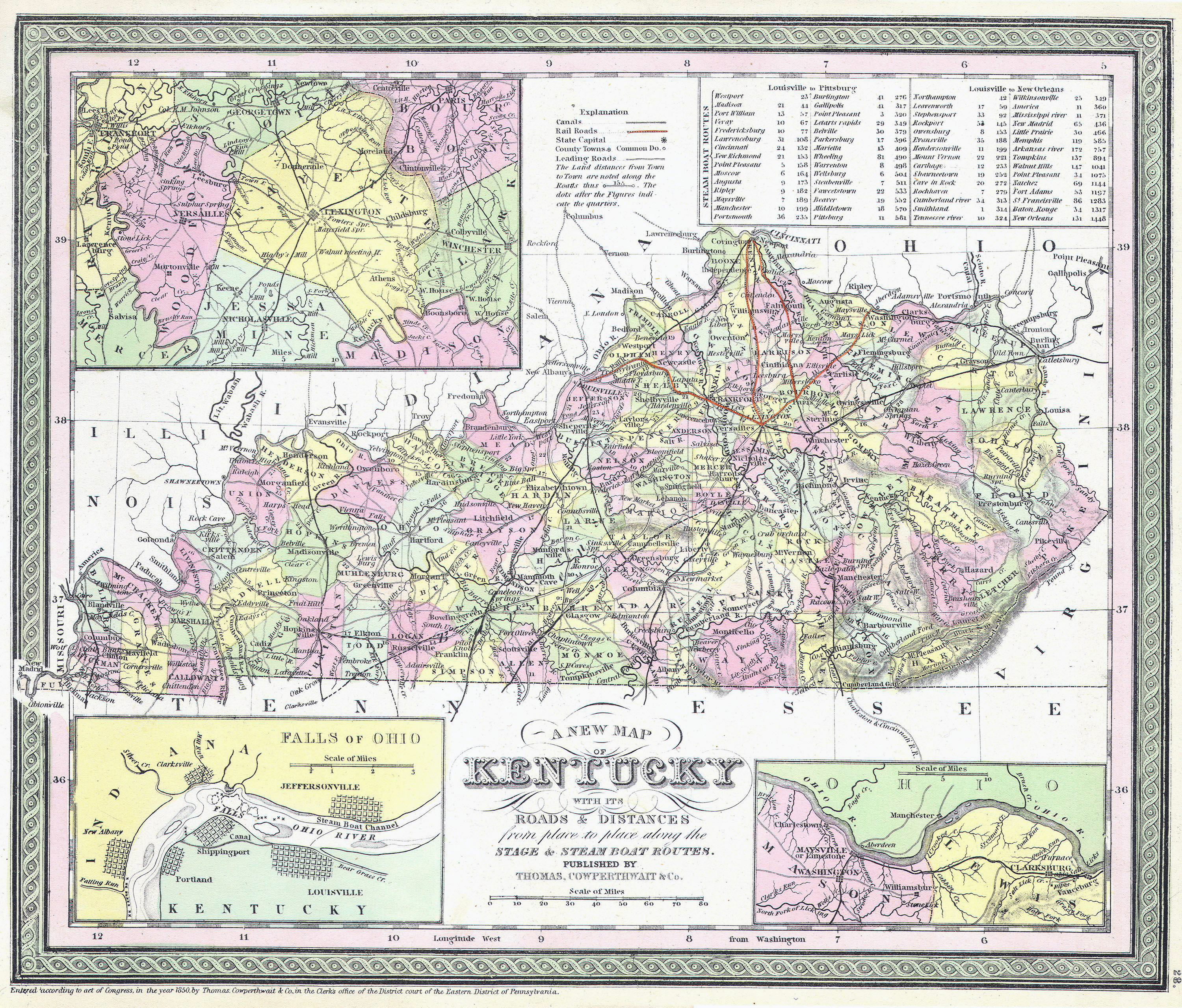 Large detailed old administrative map of Kentucky state with