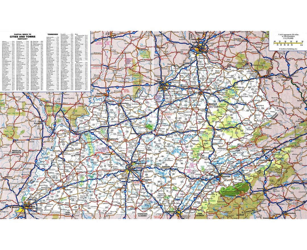 Large detailed roads and highways map of Kentucky state with all cities and national parks