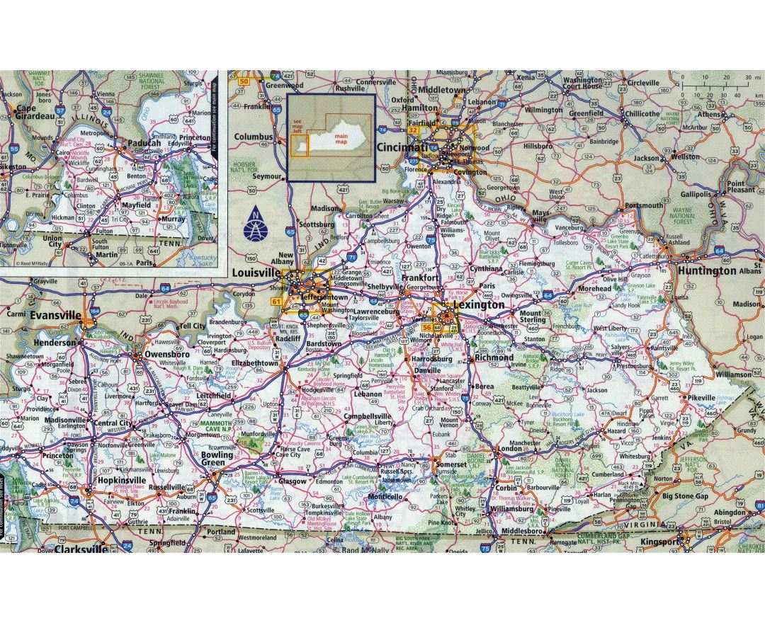 Large detailed roads and highways map of Kentucky state with all cities