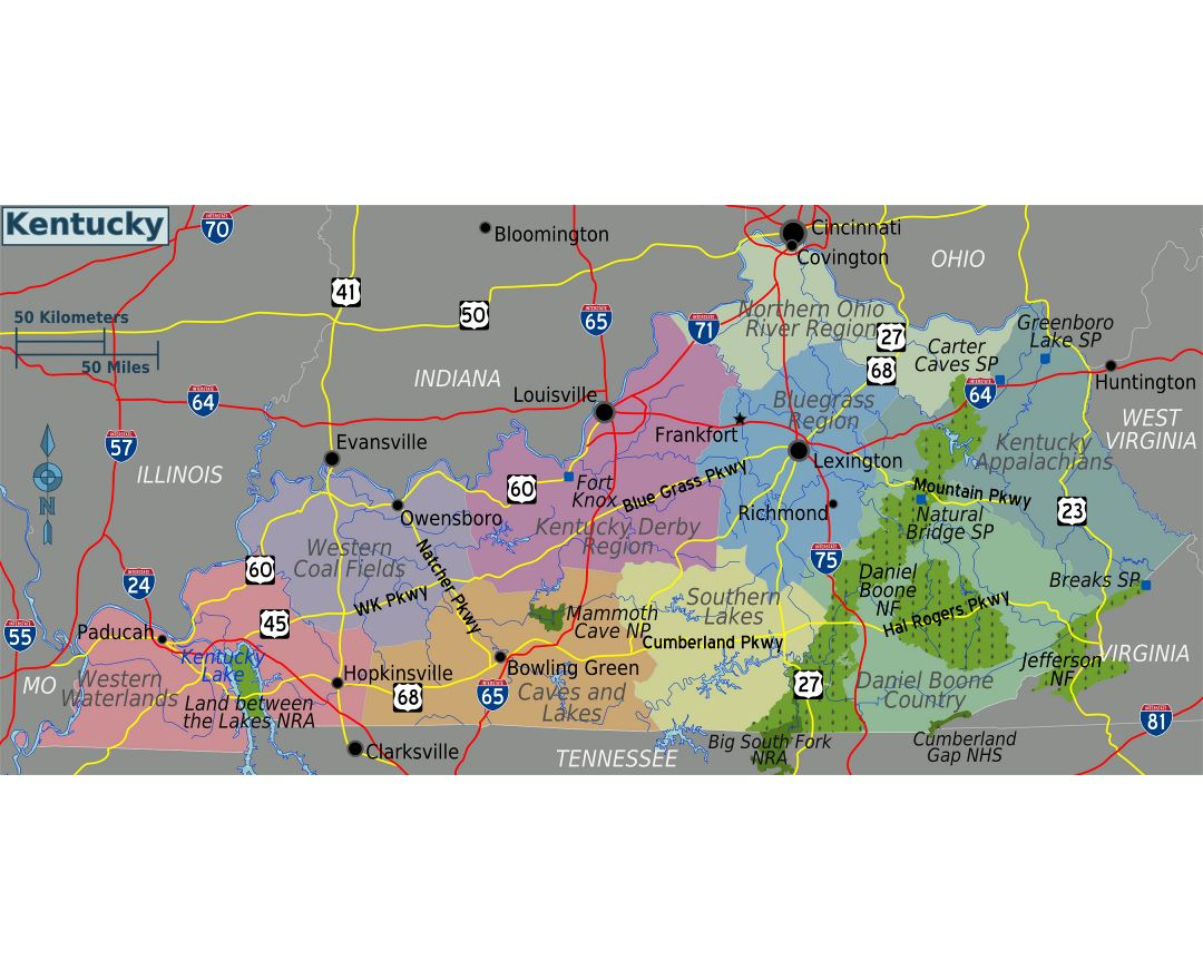 Large regions map of Kentucky state