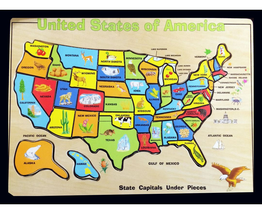 Large cartoon map of the USA