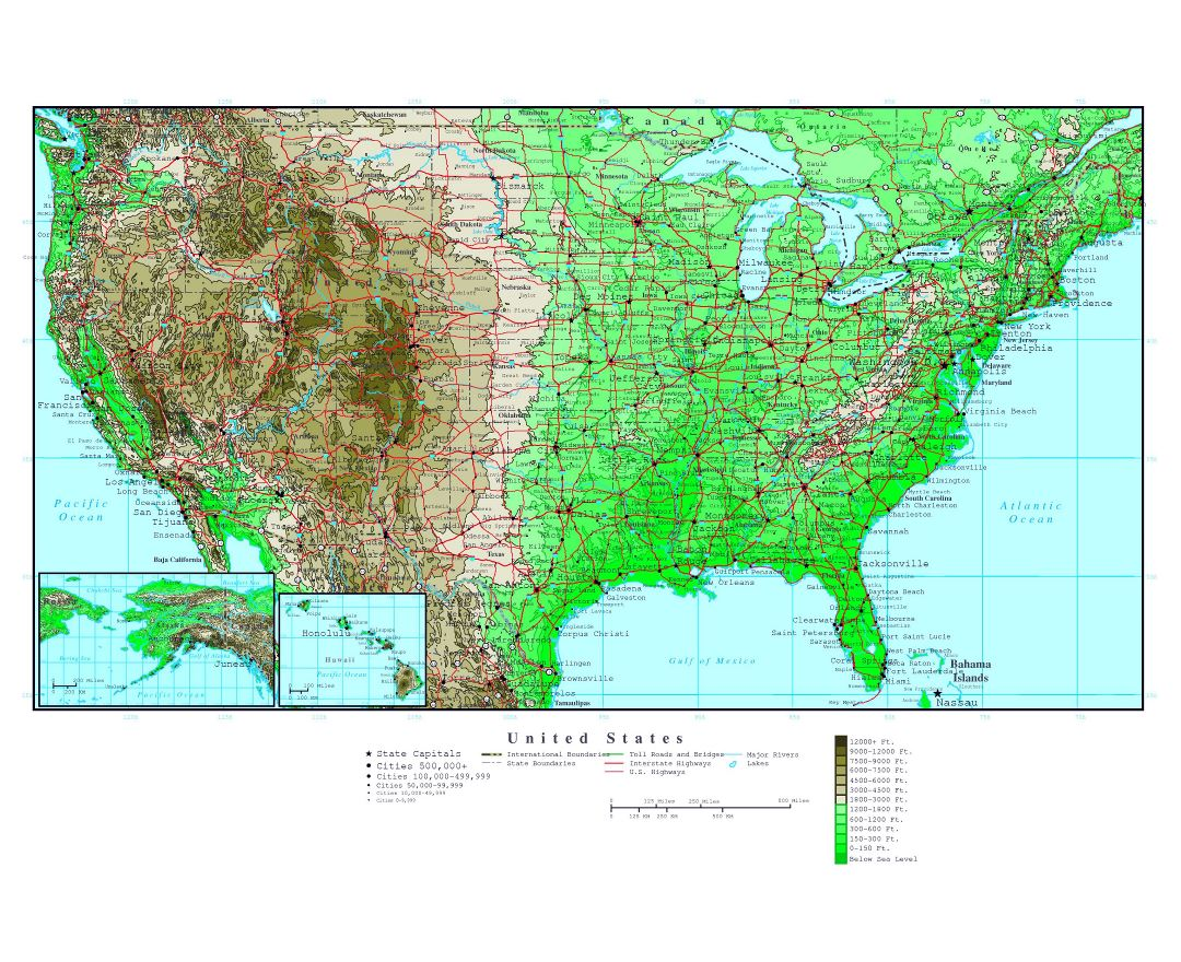 Maps Of The USA The United States Of America Political - Detailed usa map with states and cities