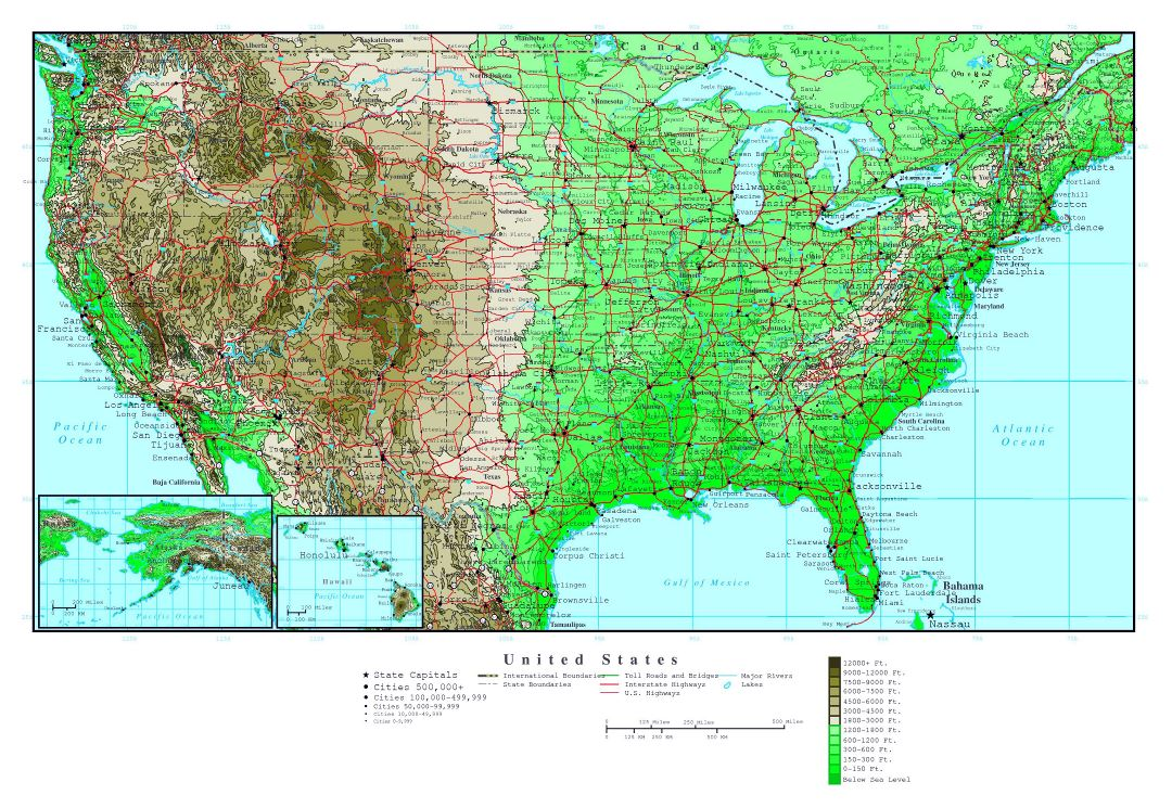 Large detailed elevation map of the USA with roads and major cities