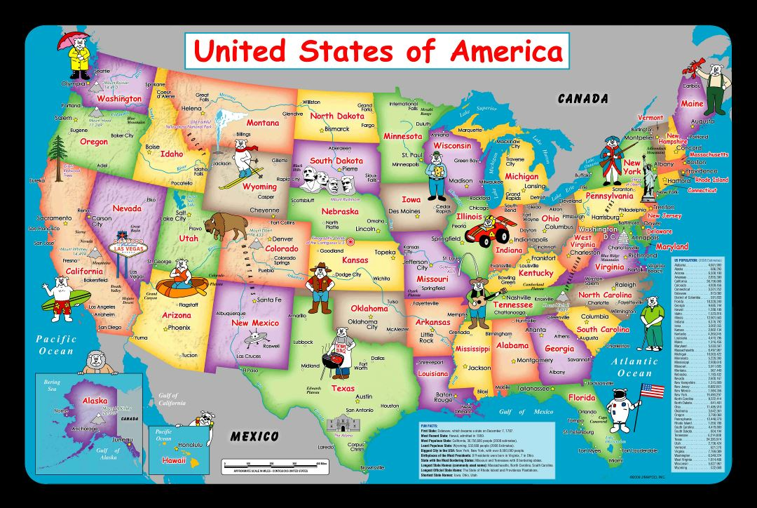 Large detailed kids map of the USA